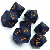 Blue & Black 'Golden Cobalt' Speckled Polyhedral 7 Dice Set
